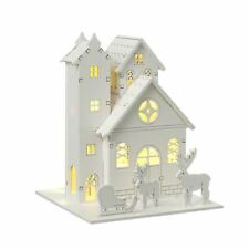 White Wooden Christmas House LED Festive Decoration by Heaven Sends