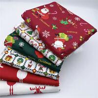 6x Weihnachten Gedruckt Baumwoll Stoff Patchwork DIY Nähen Tissue Quilting Xmas