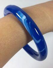 Vintage Women Dark Earth Blue White Swirl Round Art Glass Bangle Bracelet