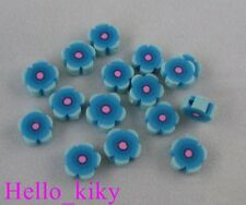 200 pcs Skyblue fimo polymer clay flower beads 8mm M411