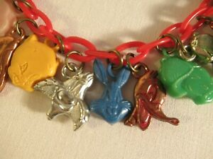 Vtg LOONEY TUNES Cracker Jack/ Gumball Charm Bracelet BUGS/ ELMER/ TWEETY/ DAFFY