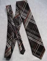 Vintage MENS Tie Retro Necktie BROWN CHECKED