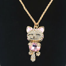 Lucky Cat Sweater Necklace Rhinestone Crystal Pendant Chain Jewellery Women Gift