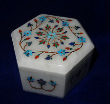 Ballerina Jewelry Trinket  Hexagon Jewelry Box Ring Box Gift Floral Inlay Decor