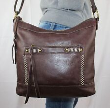 LUCKY BRAND Brown Medium Leather Shoulder Hobo Tote Cross Body Slouch Purse Bag