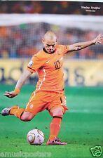 """WESLEY SNIJDER """"KICKING FOOTBALL FOR NETHERLANDS"""" POSTER - KNVB, Holland, Soccer"""