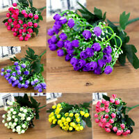36HEADS ARTIFICIAL SILK FLOWERS BUNCH Wedding Home Grave Outdoor Bouquet Cool