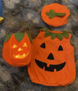 Pottery Barn Pumpkin Halloween Costume Toddler Size 2T-3T Hat Light Up Treat Bag