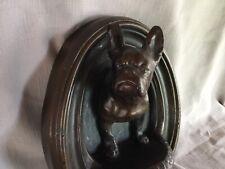 Antique French Bulldog Figurine Hanging Plaque