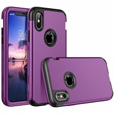 Apple iPhone X Case Full Body Hybrid Case Cover Shockproof Defender Armor Purple