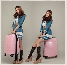 """Fashion Girl Luggage Suitcase Trolley Bag Rolling Wheel with Polka Dot Pink 24"""""""