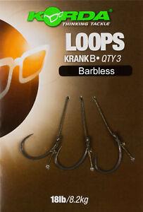 Korda Loop Rigs Krank Gr.4 Gr.6 18lb / 8,2kg Karpfenageln Karpfenhaken NEW OVP