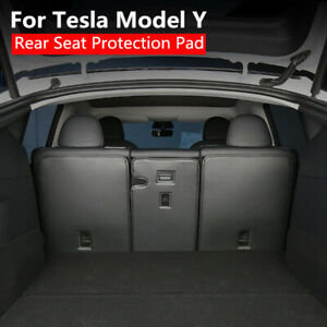 3Pcs Trunk Backrest Rear Seat Protection PU Leather Pad Cover For Tesla Model Y