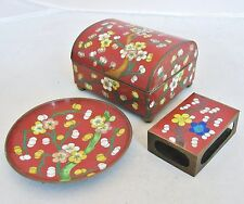 "Antique Chinese Brick Red Cloisonne Smoking Set with 3.5"" Box & Ash Tray Plate"