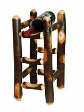 Rustic Hickory Table top Wine Rack for 3 bottles