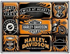 Harley Davidson Wild At Heart set of 9 mini fridge magnets (na)
