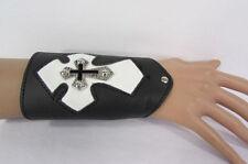 New Men Black Leather Bracelet Fashion Wide White Metal Cross Arm Biker Rocker