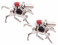 3D Silver Race Horse Red Jockey Cufflinks Ascot Aintree Racing CUFFLINKS DIRECT