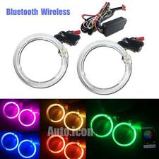 "Bluetooth Wireless RGB 3.0"" LED Angel Eyes Halo Rings HID Headlights Retrofit"