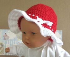 Baby Crochet Sun Hat, Children Bucket Hat, Red Wool Hat, Summer Childrens Hat