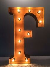 """New Rustic Metal Letter F Light  Marquee: Sign Wall Decoration 24"""" Vintage"""