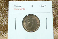 1937 One Cent King George VI, uncrowned portrait, maple twig design. RED/BROWN.