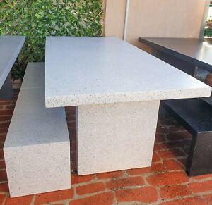 2.1m Concrete Outdoor Garden Patio Harvey Rectangle Table Bench White Terrazzo