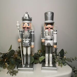 30cm Christmas Nutcracker Decoration in Silver and White - Choice of 2 Designs
