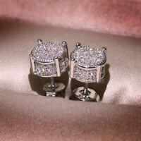 Elegant 925 Silver Stud Earrings Women White Sapphire Wedding Jewelry A Pair/set