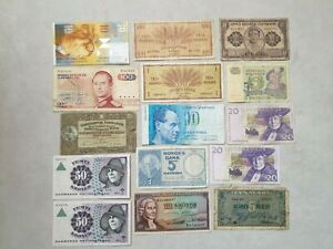 Denmark Sweden Iceland Luxembourg Norway Finland Switzerland Lot Banknotes