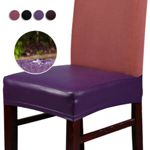 Faux Leather Dining Chair Slipcover Waterproof Chair Seat Protective Cover
