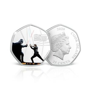 Star Wars Empire Strikes Back COLOURED Silver Plated Collectors Coin Rare 50p