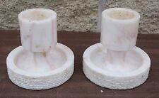 + Pair of Older Short Marble Altar Top Candlesticks + (CU#562) Church