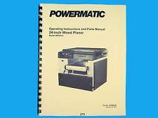 "Powermatic  Model WP2412  24"" Planer Operating  Instruct & Parts Manual *273"