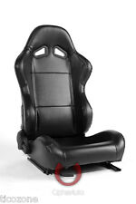 NEW CPA1001 ALL BLACK LEATHERETTE CIPHER AUTO RACING SEATS - PAIR