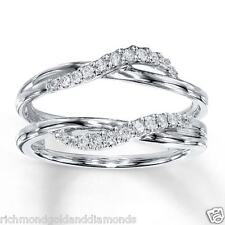 Wave Stylle White Gold Solitaire Enhancer 1/5ct Diamonds Ring Guard Wrap Jacket