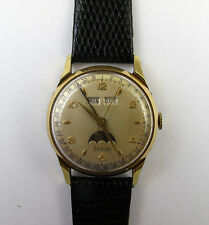 Vintage Zodiac Moonphase Mens Wrist Watch 17j Manual Wind Running! Day/Date