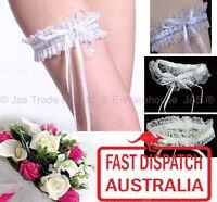 Bridal Bride Lace Stretch One Size Garter Wedding Diamante Rhinestone White