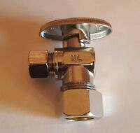 "10) 5/8"" OD X 3/8"" OD 1/4 TURN COMPRESSION ANGLE STOP VALVE FULL PORT, LEAD FREE"