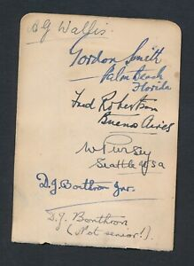 1930 Vintage Golf Autograph Sheet ABE MITCHELL/BOBBY JONES/WALLIS/GORDON SMITH +
