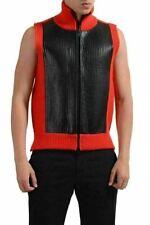 Maison Martin Margiela Men's Wool Leather Full Zip Heavy Knitted Vest US M IT 50