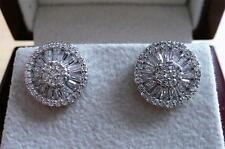 LARGE DAZZLING CUBIC ZIRCONIA 925 STERLING SILVER ROUND STUD EARRINGS 1.2CMS