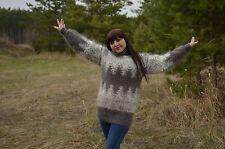 New Sweater Turtleneck Handmade natural goat fuzz Mohair Angora thick Size: M