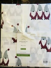 Pottery Barn Gnome Organic King Size Sheet Set Holiday Christmas Bedding Cotton
