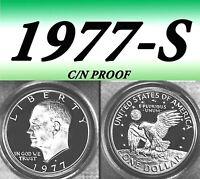 1977-S EISENHOWER BRIGHT CLEAR UNCIRCULATED DOLLAR.===BU===C/N===PROOF==========