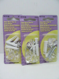 Lot of 3 Sets of Ook 53203 Fancy Mirror Clips for 1/4in Mirrors