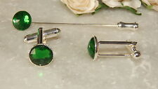S/P Emerald Green Cufflinks & Cravat/Stick Pin -Mens-Ladies-Wedding-Gifts