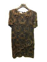 Stenay 14W Black Gold Beaded Floral Silk Dress Formal Evening Short Sleeve Knee