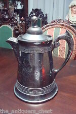 """Antique 1880's J.A. Babcock & Co Silver Plated coffee pot Acorn Lid, 12""""[*]"""