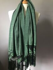 MEXICAN REBOZO Green/black Woven Fringe 100% Hand Loomed Scarf Shawl Wrap